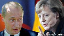 Combo Grafik Angela Merkel und Wladimir Putin