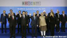 09.07.2015 *** (1st row L-R) South Africa's President Jacob Zuma, China's President Xi Jinping, Russia's President Vladimir Putin, India's Prime Minister Narendra Modi, Brazil's President Dilma Rousseff and leaders of the invited states (2nd row L-R) Uzbek's President Islam Karimov, Tajikistan's President Imomali Rakhmon, Pakistan's Prime Minister Nawaz Sharif, Mongolia's President Tsakhia Elbegdorj, Kazakh's President Nursultan Nazarbayev, Iran's President Hassan Rouhani, Belarus's President Alexander Lukashenko, Afghanistan's President Ashraf Ghani and Armenia's President Serzh Sargsyan pose during a family photo session at the BRICS Summit in Ufa, Russia, July 9, 2015. Ufa hosts the BRICS and the Shanghai Cooperation Organization (SCO) summits on July 9-10. REUTERS/BRICS/SCO Photohost/RIA Novosti ATTENTION EDITORS - THIS IMAGE HAS BEEN SUPPLIED BY A THIRD PARTY. IT IS DISTRIBUTED, EXACTLY AS RECEIVED BY REUTERS, AS A SERVICE TO CLIENTS.