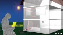 Sendung Shift - Leben in der digitalen Welt Titel: DW Shift Smart Home Schlagworte: Infografik, Smart Home, Risiken, Hacker Wer hat das Bild gemacht/Fotograf?: WDR Wann wurde das Bild gemacht?: Screenshot Wo wurde das Bild aufgenommen?: Screenshot Bildbeschreibung: Infografik Smarthome Kein DW Copyright