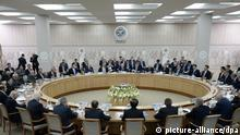10.7.2015 *** epa04840144 General view of expanded-format meeting of the SCO Heads of State Council including delegations at the SCO (Shanghai Cooperation Organisation) summit in Ufa, the capital of Bashkortostan republic, Russia, 10 July 2015. Ufa is hosting SCO summit on 10 July. EPA/BRICS /SCO PHOTOHOST / RIA NOVOSTI / POOL +++(c) dpa - Bildfunk+++