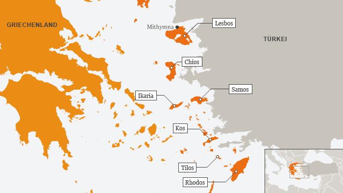 Eine Karte der östlichen Ägäis mit Griechenland, den griechischen Inseln vor der türkischen Küste und dem türkischen Festtland