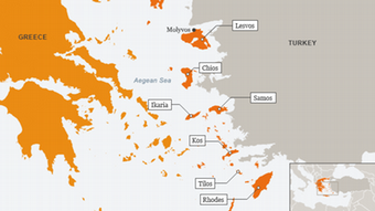 Map showing Greek islands in relation to Turkey