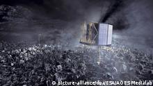 ARCHIV - HANDOUT - ILLUSTRATION - Der Landeroboter «Philae» auf dem Kometen «Tschuri». «Philae» war im November nach zehnjähriger Reise auf dem Kometen gelandet - allerdings ungeplant im Schatten. Illustration: ESA/AOES Medialab/dpa (ACHTUNG: Nur zur redaktionellen Verwendung und nur mit Urhebernennung ESA/AOES Medialab/dpa - zu dpa «Philae» gibt den Experten Rätsel auf - Kontakte nicht berechenbar vom 10.07.2015) +++(c) dpa - Bildfunk+++