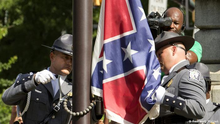 The Confederate flag lowered in South Carolina