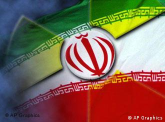 Iranian flag with atom symbol