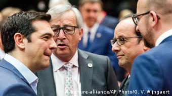 Tsipras, Juncker, Hollande