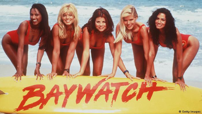 Baywatch women in red suits (Photo By Getty Images)