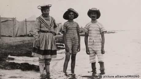 Historic photo of people in long swimsuits