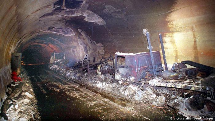 Место пожара в Монбланском туннеле, 1999 год