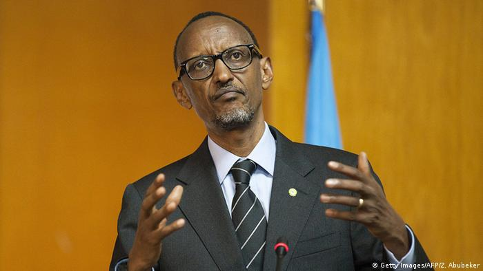 Rwandan President Paul Kagame talks during a press conference.