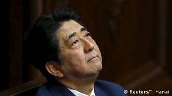 Japan's Prime Minister Shinzo Abe looks up during a plenary session of the parliament in Tokyo July 16, 2015 (Photo: REUTERS/Toru Hanai)