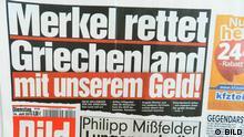 Deutsche Presse über Griechenland. Titelseite von Bild vom 14.7.2015 Copyright: BILD via MArcel Fürstenau, DW