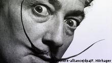Der Künstler Salvador Dali auf einem Foto von Philippe Halsman, aufgenommen am 06.03.2014 auf der Kunstmesse «The Armory Show» in New York (USA). Foto: Felix Hörhager/dpa - ACHTUNG: Nur redaktionellen Verwendung, nur in Zusammenhang mit der Berichterstattung über diese Messe und nur bei Nennung der vollständigen Quelle