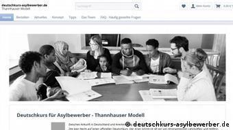 Screenshot der Website deutschkurs-asylbewerber.de