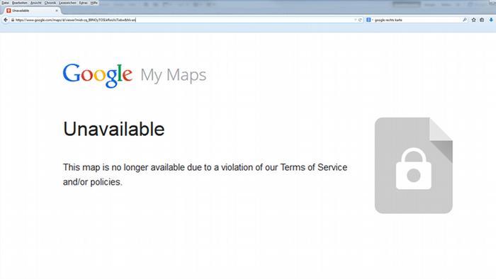 Google-maps-Karte von Flüchtlingsheimen nicht mehr verfügbar (Quelle: https://www.google.com/maps/d)