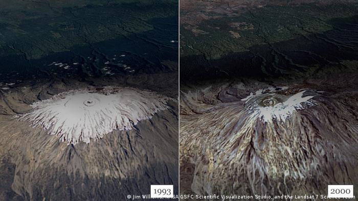 Schnee auf dem Kilimandscharo 1993 und 2000