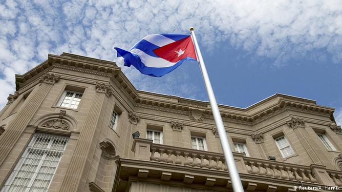 File photo of the Cuban flag at the Cuban embassy in Wahsington