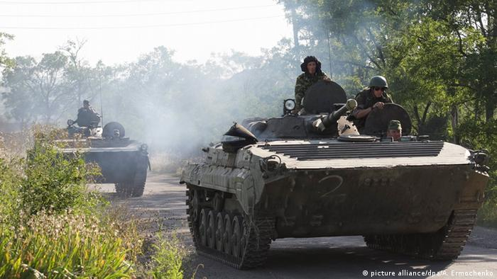 Pro-Russian separatists in Armored Personnel Carriers near Donetsk, Ukraine, in 2015