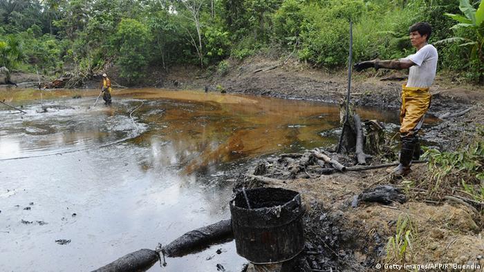 Texaco oil Barrels of in waste pools in Ecuador