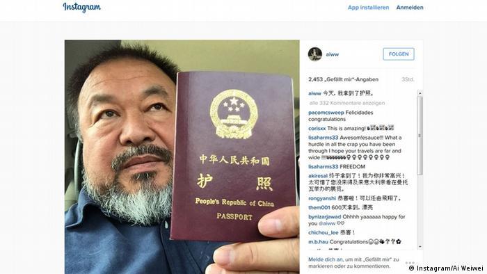 Screenshot Instagram Ai Weiwei Reisepass