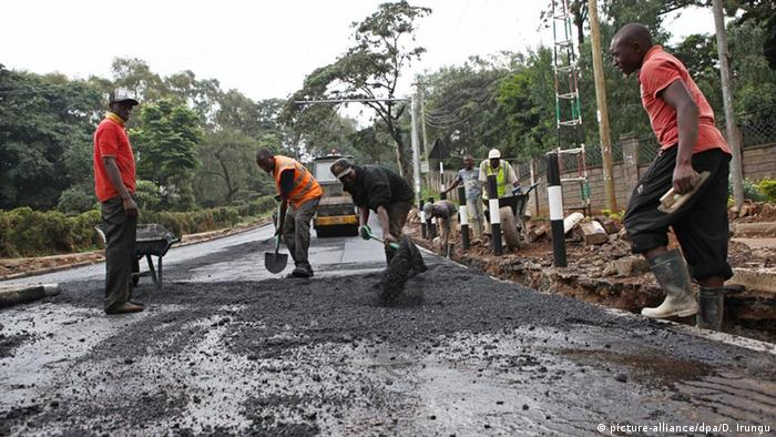A tarmac road being replaced in Nairobi ahead of Obama's visit