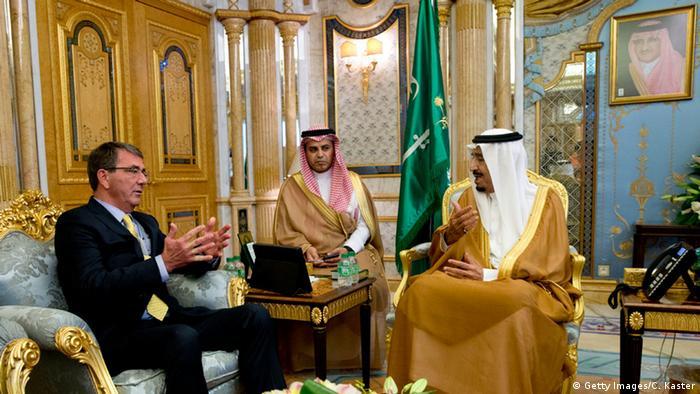 Saudi Arabia's King Salman meets US Defense Secretary Ashton Carter