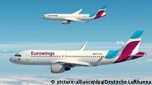 ARCHIV - HANDOUT - Die Computer-Darstellung zeigt zwei Eurowings-Flugzeuge. ACHTUNG: Verwendung nur zu redaktionellen Zwecken bei Nennung der Quelle: Foto: Deutsche Lufthansa/dpa (Zu dpa Einigung über Pilotengehälter bei Lufthansa-Tochter Eurowings) +++(c) dpa - Bildfunk+++