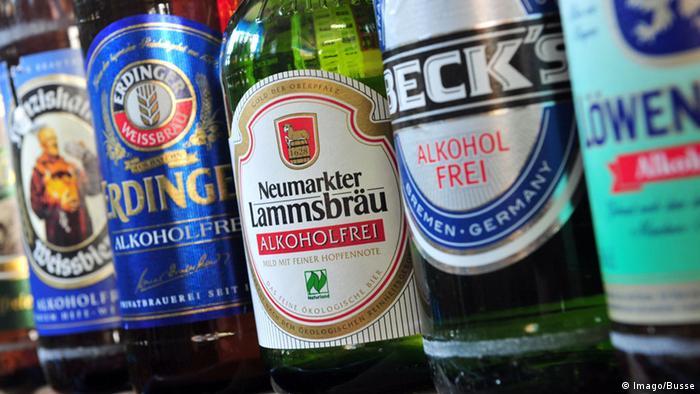 Garrafas de cervejas alemãs sem álcool