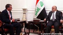 Irak USA Verteidigungsminister Ashton Carter bei Ministerpräsident Haider al-Abadi in Bagdad