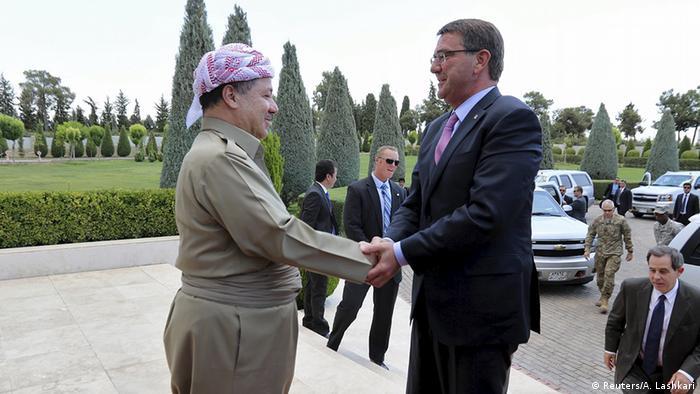 Irak USA Kurden Verteidigungsminister Ashton Carter bei Massoud Barsani in Erbil