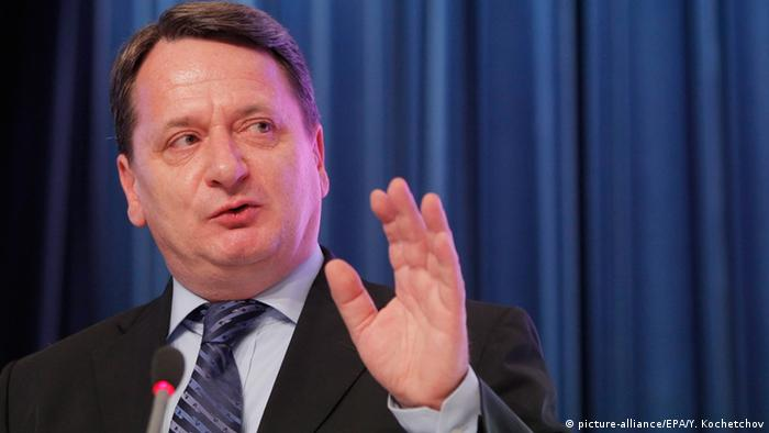 Hungarian politician Bela Kovacs gestures while speaking the Gas of Russia 2012 Forum in Moscow