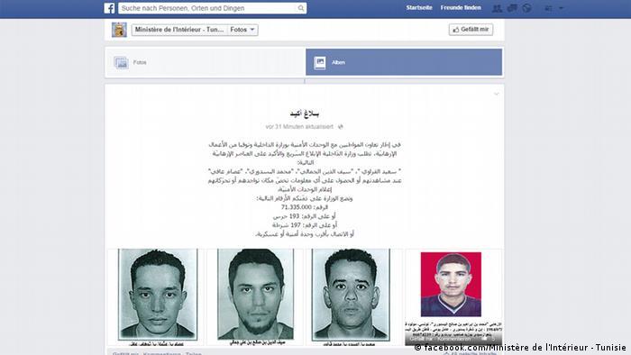 Screenshot Facebook Innenministerium Tunesien