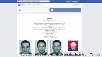Screenshot Facebook Innenministerium Tunesien (facebook.com/Ministère de l'Intérieur - Tunisie)