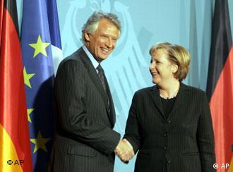 French premier Dominique de Villepin and German chancellor Angela Merkel in Berlin
