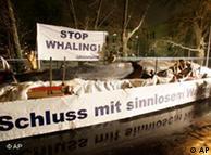 Greenpeace demandó en Berlín que Japón deje de cazar ballenas.