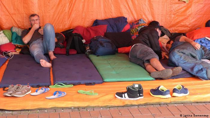 Protestcamp von syrische Flüchtlinge in Dortmund (Foto: DW/Janina Semenova)