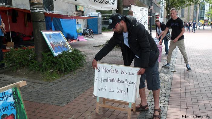 Protestcamp von syrischen Flüchtlinge in Dortmund (Foto: DW/Janina Semenova)