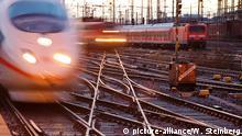Ein ICE und Regionalzüge fahren am 16.12.2012 im Abendlicht in den Hauptbahnhof von Frankfurt am Main ein. Foto: Wolfram Steinberg dpa