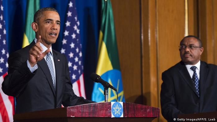 Президент США Барак Обама виступає на спільній прес-конференції з прем'єр-міністром Ефіопії Хайлемаріамом Десаленем.