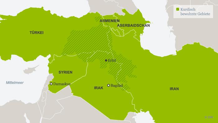 Karte Kurdisch bewohnte Gebiete