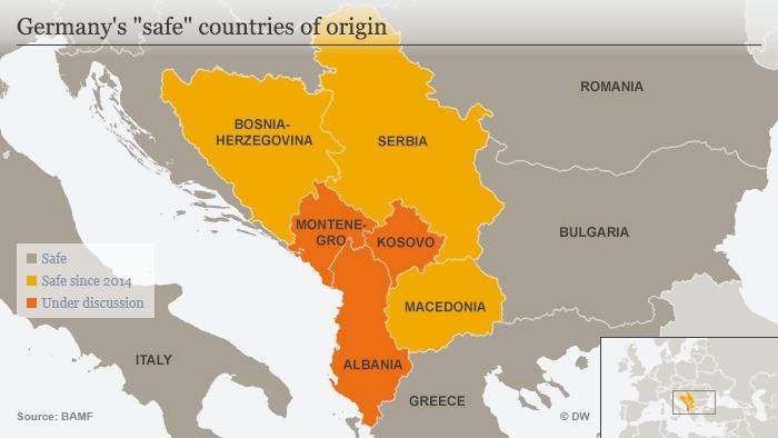 Karte Von Deutschland als sicher eingestufte Herkunftsländer Englisch
