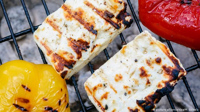 Halloumi and peppers on a barbeque