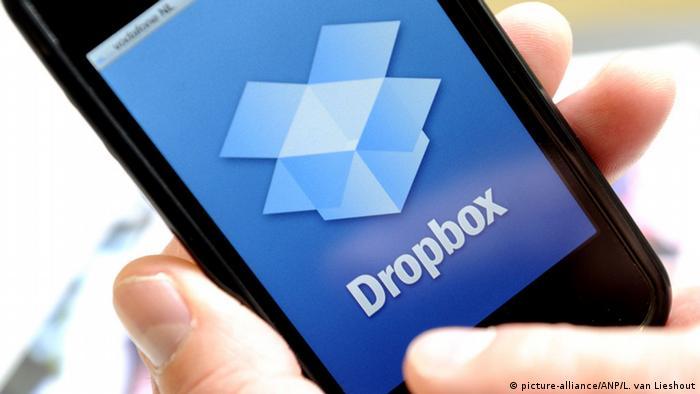 La aplicación Dropbox en un iPhone.