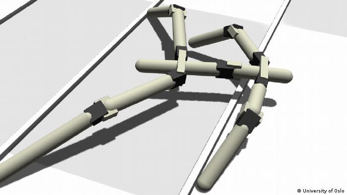 A 3D computer-generated model of a stick-legged robot