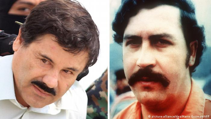 Bildkombo Joaquin Guzman Loera El Chapo und Pablo Escobar