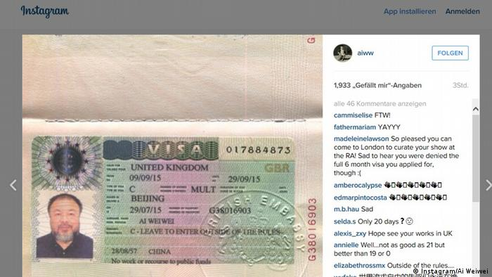 Instagram Ai Weiwei (Screenshot)