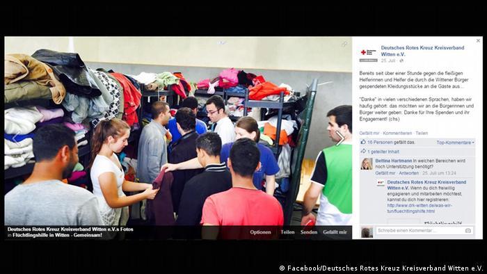 Auf Facebook postet das DRK Fotos von der Ankunft der Flüchtlinge und ruft zu Hilfe auf. (Foto: Screenshot Deutsches Rotes Kreuz Kreisverband Witten e.V. Facebook)
