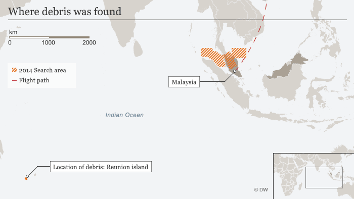 Infografik Flug MH370 Fundort des Trümmerteils ENG