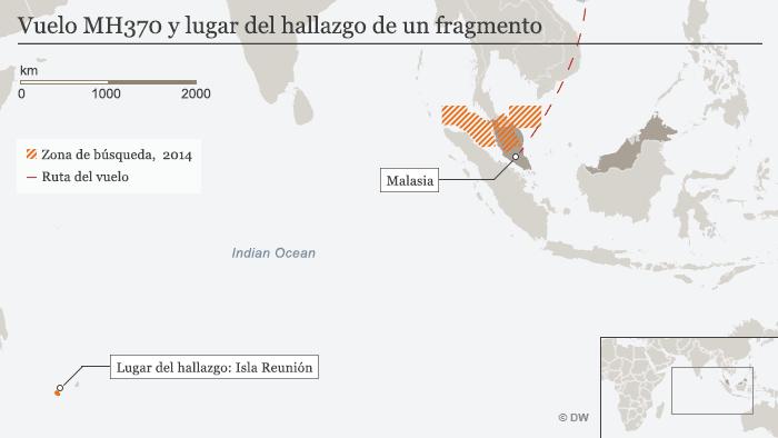 Infografik Flug MH370 Fundort des Trümmerteils SPA