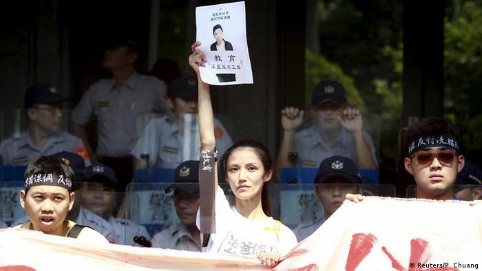 Taiwan Proteste vor dem Bildungesministerium